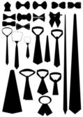 Different types neckwear (contour). — Stockvector