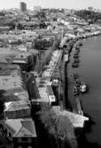 Portugal. Porto. Gaya. View of Douro river embankment in black — Stock Photo