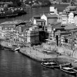 Portugal. Porto city. View of Douro river embankment  in black a — Stock Photo