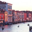 Italy. Venice.The Grand Canal from Rialto bridge at sunset — Stock Photo