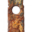 Rusty escutcheon plate — Stock Photo