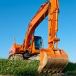 Excavator has a rest — Stock Photo