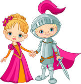 Medieval Boy and Girl — Stock Vector