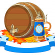 Stock Vector: Oktoberfest keg and mug