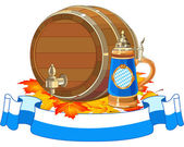 Oktoberfest keg and mug — Stock Vector