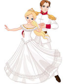 танцы принц и принцесса — Cтоковый вектор