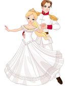 Dansende prins en prinses — Stockvector