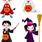 Halloween trick or treating children — Stock Vector