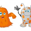 Two cute little monsters - Stock Vector
