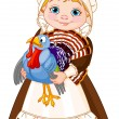 Stock Vector: Pilgrim lady with turkey