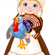 Pilgrim lady with turkey — Imagen vectorial