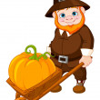 Cute pilgrim with wheelbarrow — Stock Vector