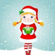 Christmas girl in snow — Stock Vector #1336726