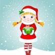 圣诞节在雪地里的女孩 — 图库矢量图片 #1336726