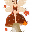Autumn Fairy on the Mushroom — Stock Vector