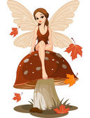 Autumn Fairy on the Mushroom — Stockvector
