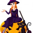 Halloween Witch on pumpkin — Stock Vector