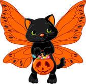 Joli chat d'halloween — Vecteur