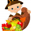 Pilgrim with cornucopia — Stock Vector