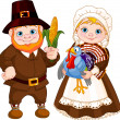 Stock Vector: Cute Pilgrims Couple
