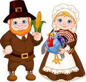 Cute Pilgrims Couple — Stock Vector