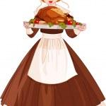 Pilgrim girl with plate — Stock Vector