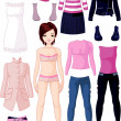 Paper doll with clothing — Stock Vector #13893972