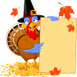 Turkey with Holiday Note — Vector de stock #14064746