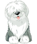 Antiguo perro pastor inglés — Vector de stock