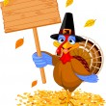 Thanksgiving turkey holding sign — Stock Vector