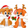 Two Christmas dogs — Stock Vector