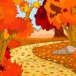 sonbahar orman manzarası — Stok Vektör
