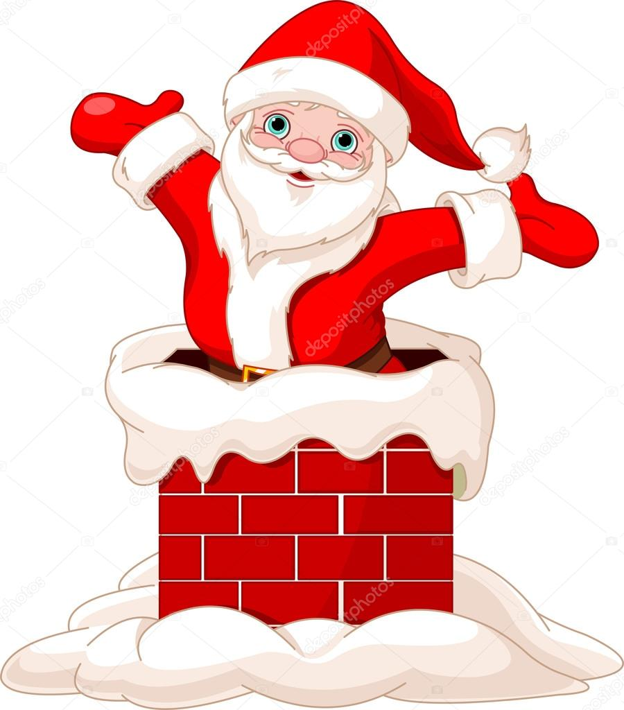 Santa Claus jumping from chimney — Stock Vector © Dazdraperma ...