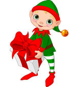 Christmas Elf with gift — Stock Vector
