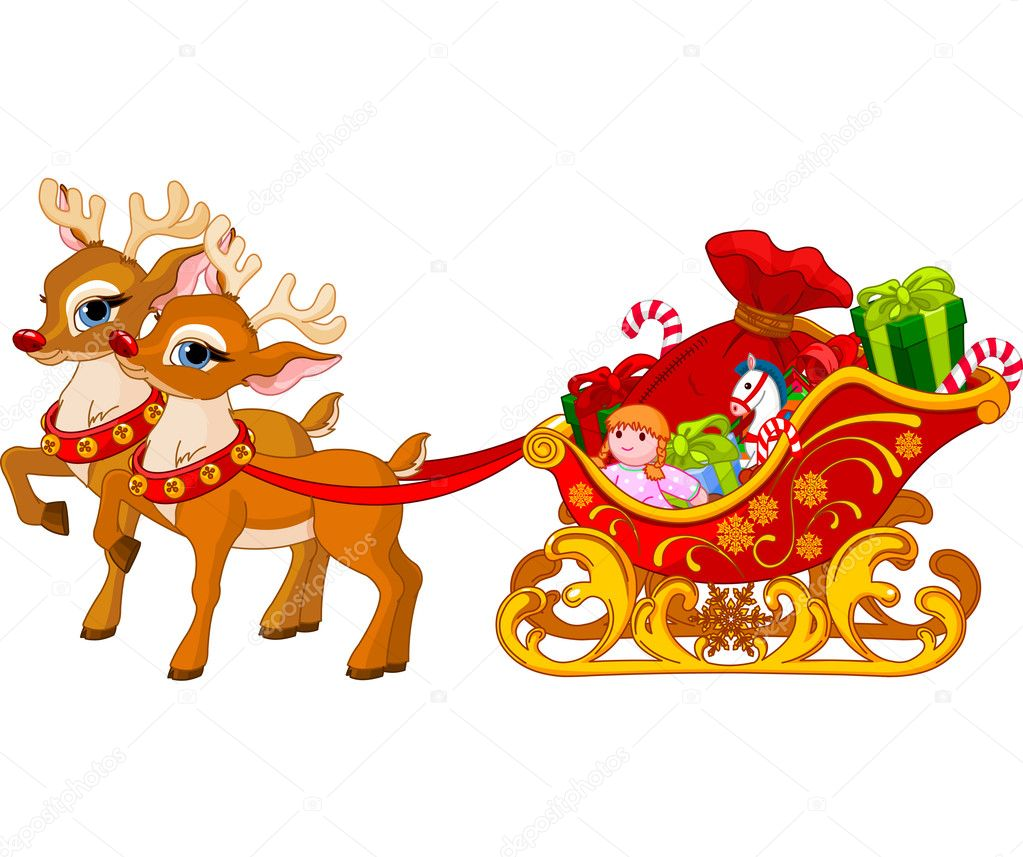 Santa Claus And Sleigh Clipart Sleigh of santa claus - stock