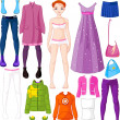 Paper doll with clothing - Stock Vector