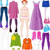 Paper doll with clothing — Stock Vector