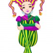 Mardi Gras harlequin lady — Stock Vector