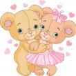 Teddy bears in love — Vector de stock #18759231