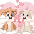 Stock Vector: Two Valentine dogs
