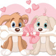 Two Valentine dogs — Stock Vector