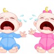 Crying baby twins - Stock Vector