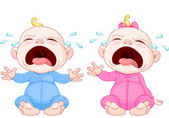 Crying baby twins — Stock Vector