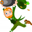 Stock Vector: Running Leprechaun