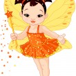 Cute Asian baby fairy — Stock Vector