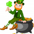 Stock Vector: Leprechaun sitting on pot of gold