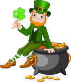 Leprechaun sitting on pot of gold — Stock Vector