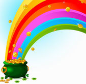 Pot of Gold and rainbow — Stock Vector
