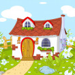 Stock Vector: Cute little house