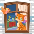 Cute kitten sitting on the window — Stock Vector #21882825